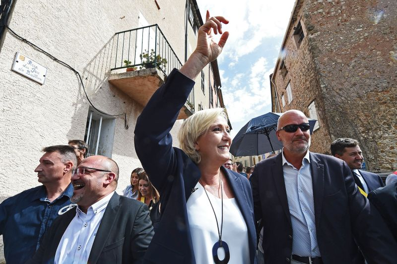 Marine Le Pen answers questions in France.