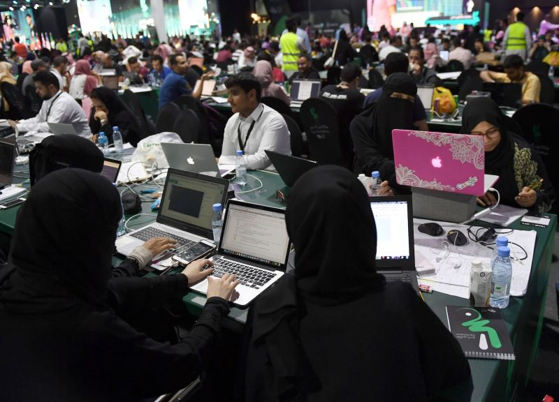 Participants including Saudi women attend a hackathon prior to the start of the annual hajj pilgrimage in Jeddah on Aug. 1, 2018.