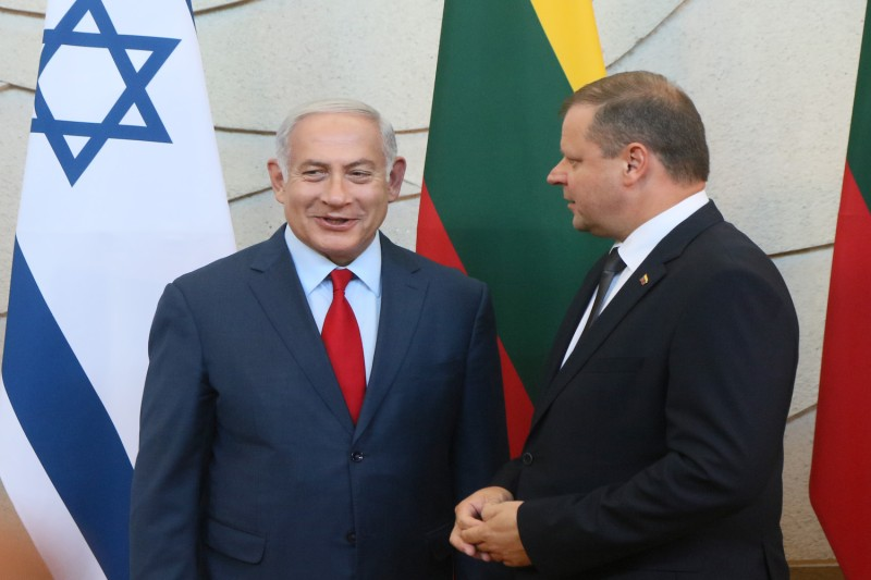 Israeli Prime Minister Benjamin Netanyahu meets with his Lithuanian counterpart, Saulius Skvernelis.