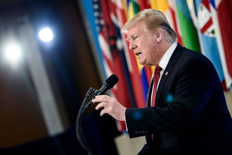 U.S. President Donald Trump speaks in Washington.