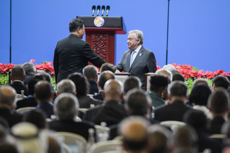 United Nations Secretary-General António Guterres shakes hands with Chinese President Xi Jinping at the Belt and Road Forum in Beijing.