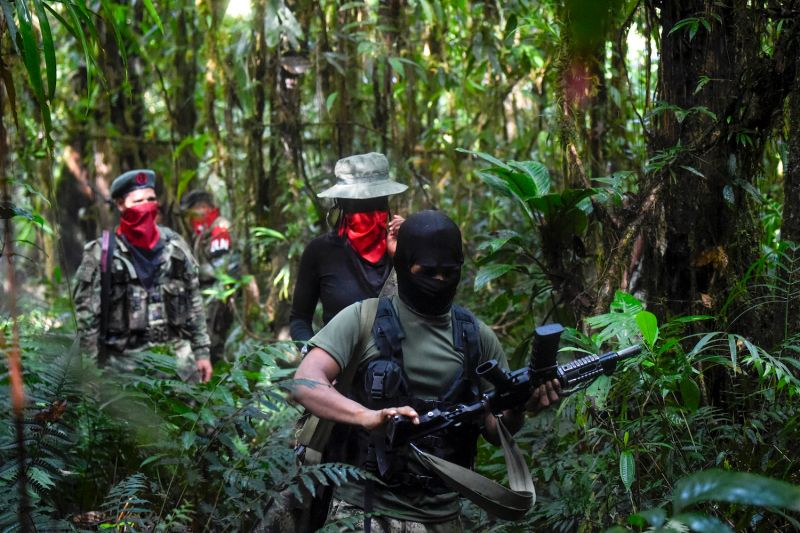 National Liberation Army (ELN) guerrillas train in the jungle in Colombia.
