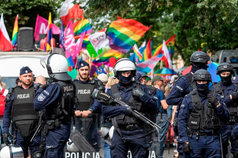 Riot police protect a pride parade amid risks of disruption by far-right opponents in Plock, central Poland, on Aug. 10.