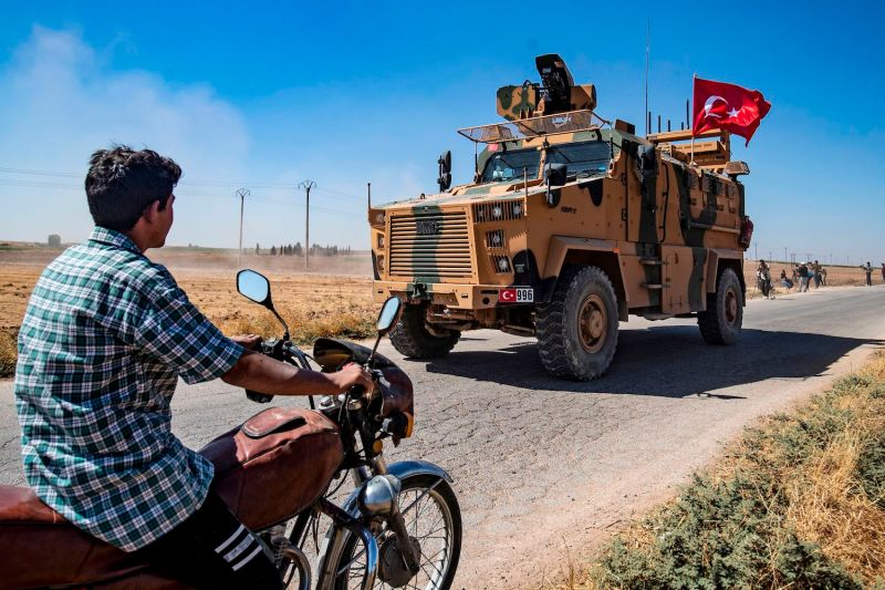 A Turkish military vehicle in the Syrian village of al-Hashisha near the border with Turkey on Sept. 24