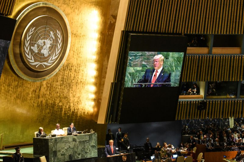 Displayed on a monitor, U.S. President Donald Trump addresses the United Nations General Assembly in New York on Sept. 24.