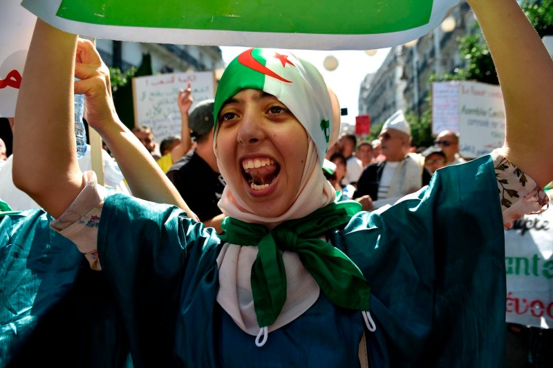 An Algerian woman protests during a demonstration in Algiers.