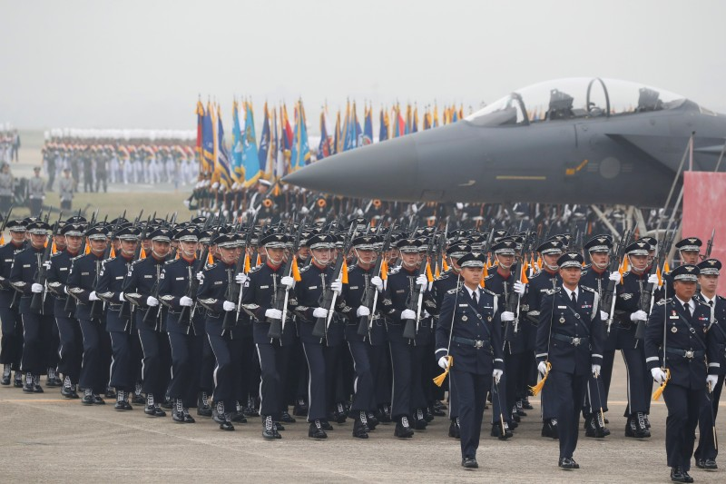 South Korean soldiers participate in the 71st annual Armed Forces Day at an air base in Daegu on Oct. 1.
