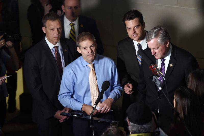 Republican lawmakers including Rep. Scott Perry (from left), Rep. Jim Jordan, Rep. Matt Gaetz, and Rep. Mark Meadows speak to reporters after a closed-door meeting with Gordon Sondland, the U.S. ambassador to the EU, was cancelled on Capitol Hill in Washington on Oct. 8.