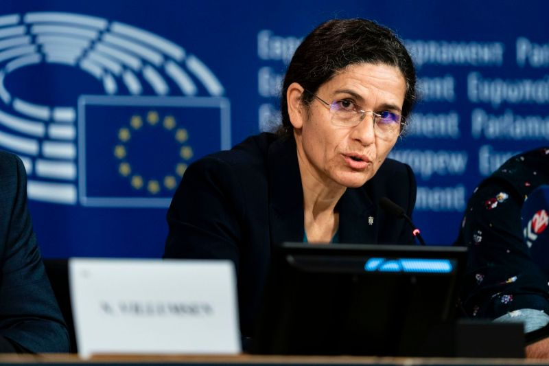 Ilham Ahmad, the president of the executive committee of the Syrian Democratic Council, attends a press conference at the European Parliament in Brussels on Oct. 10.