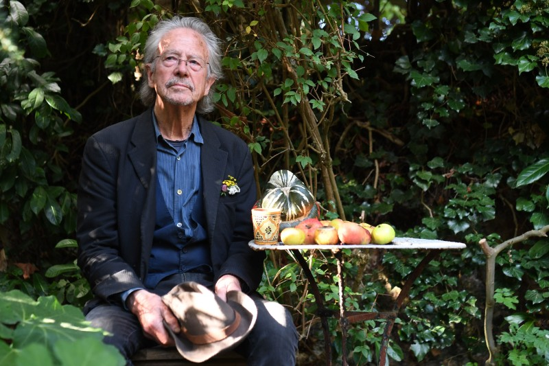 The Austrian writer Peter Handke poses in Chaville, in the suburbs of Paris, on Oct. 10, after he was awarded the 2019 Nobel Prize in literature.