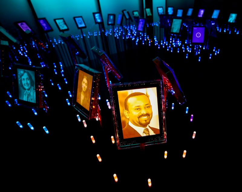 A picture of Nobel laureate Abiy Ahmed on display in Norway.