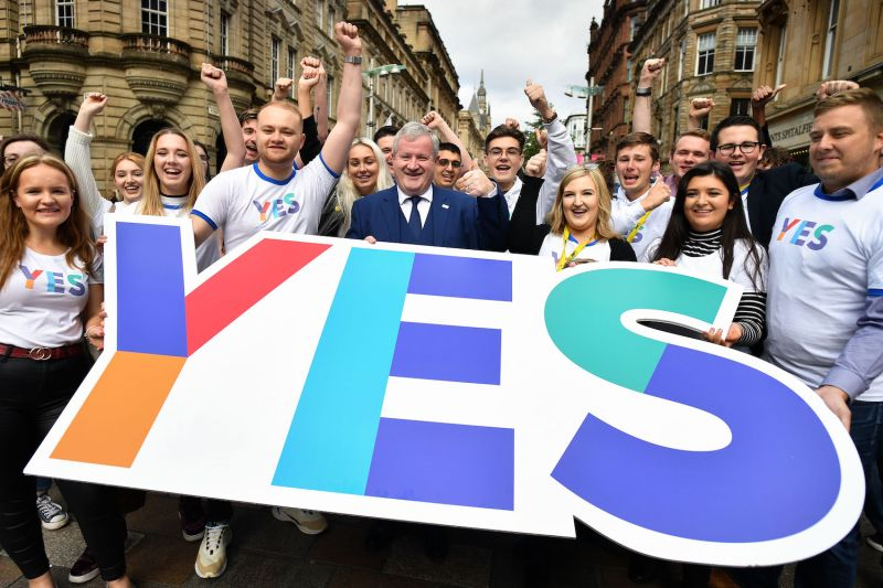 Scottish National Party Member of Parliament Ian Blackford joins celebrations marking five years since Scotland's independence referendum.