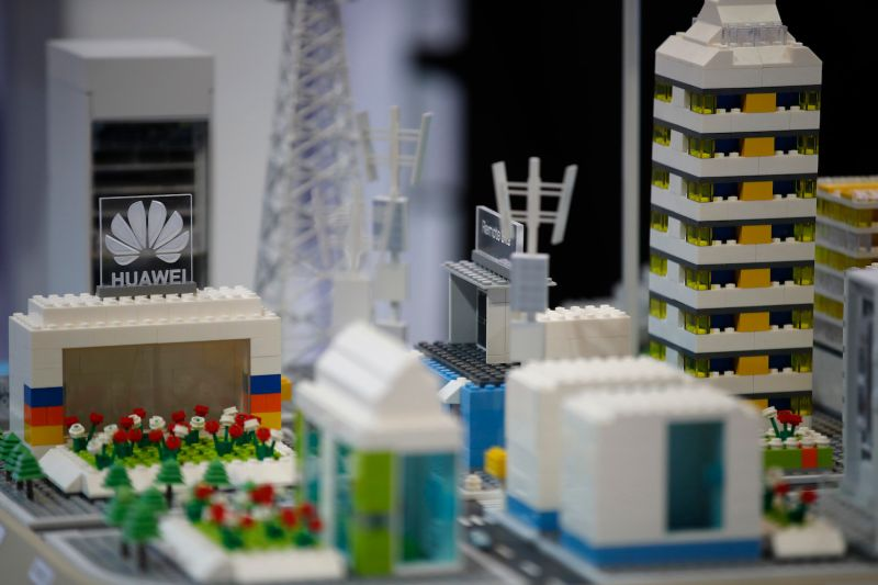 A Huawei Lego model on display at the 10th Global Mobile Broadband Forum in Zurich on Oct. 15.