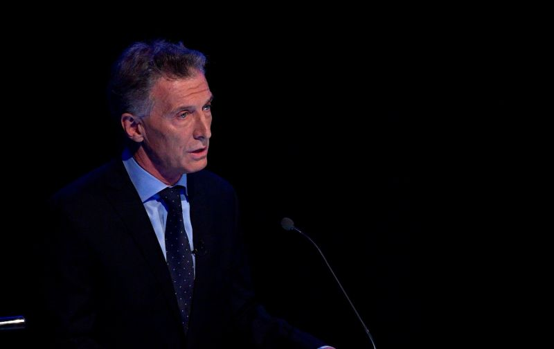 Argentine President Mauricio Macri speaks during the second debate for presidential candidates in Buenos Aires on Oct. 20.
