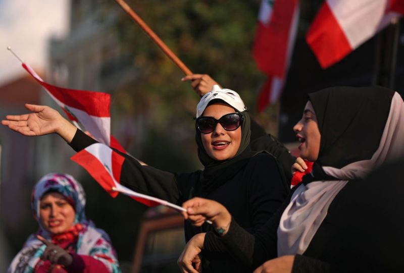 Lebanese women take part in a demonstration in downtown Beirut on Oct. 21.