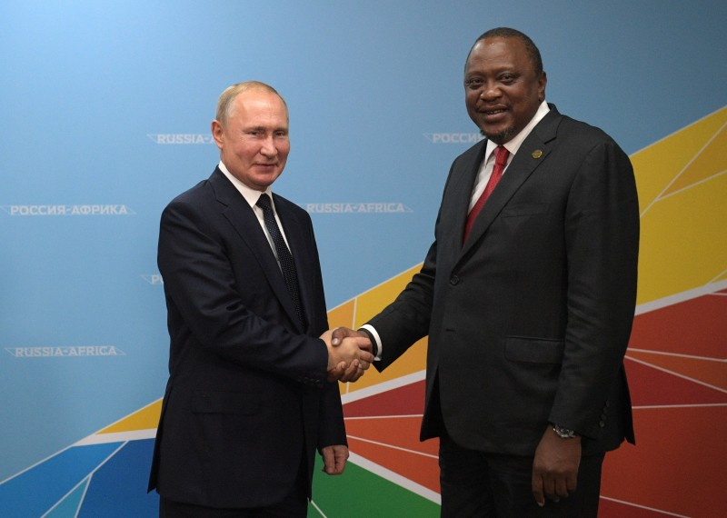 Russian President Vladimir Putin meets with Kenyan President Uhuru Kenyatta on the sidelines of the 2019 Russia-Africa Summit in Sochi on Oct. 24.