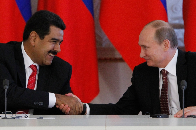 Russian President Vladimir Putin and Venezuelan President Nicolás Maduro shake hands at the Kremlin in Moscow on July 2, 2013.