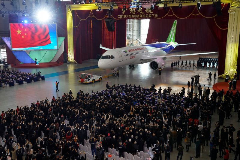 China's first self-developed large passenger jetliner, the C919, rolls off the production line on Nov. 2, 2015.
