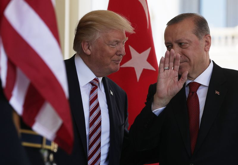 U.S. President Donald Trump welcomes Turkish President Recep Tayyip Erdogan at the White House.