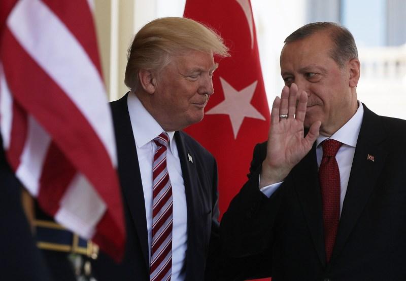 U.S. President Donald Trump welcomes Turkish President Recep Tayyip Erdogan at the White House.