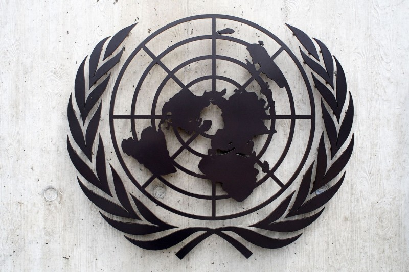 The United Nations emblem is seen in front of the United Nations Office in Geneva on June 8, 2008.
