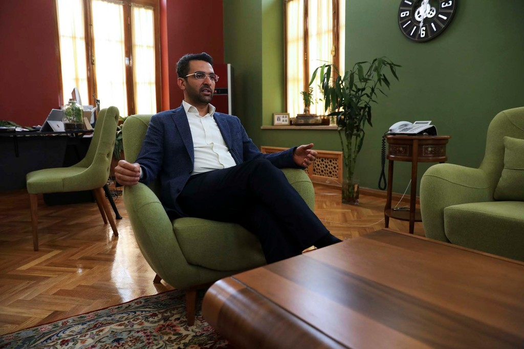 Mohammad Javad Azari Jahromi, Iran's information and communications technology (ICT) minister, is interviewed in his office in Tehran on July 7.