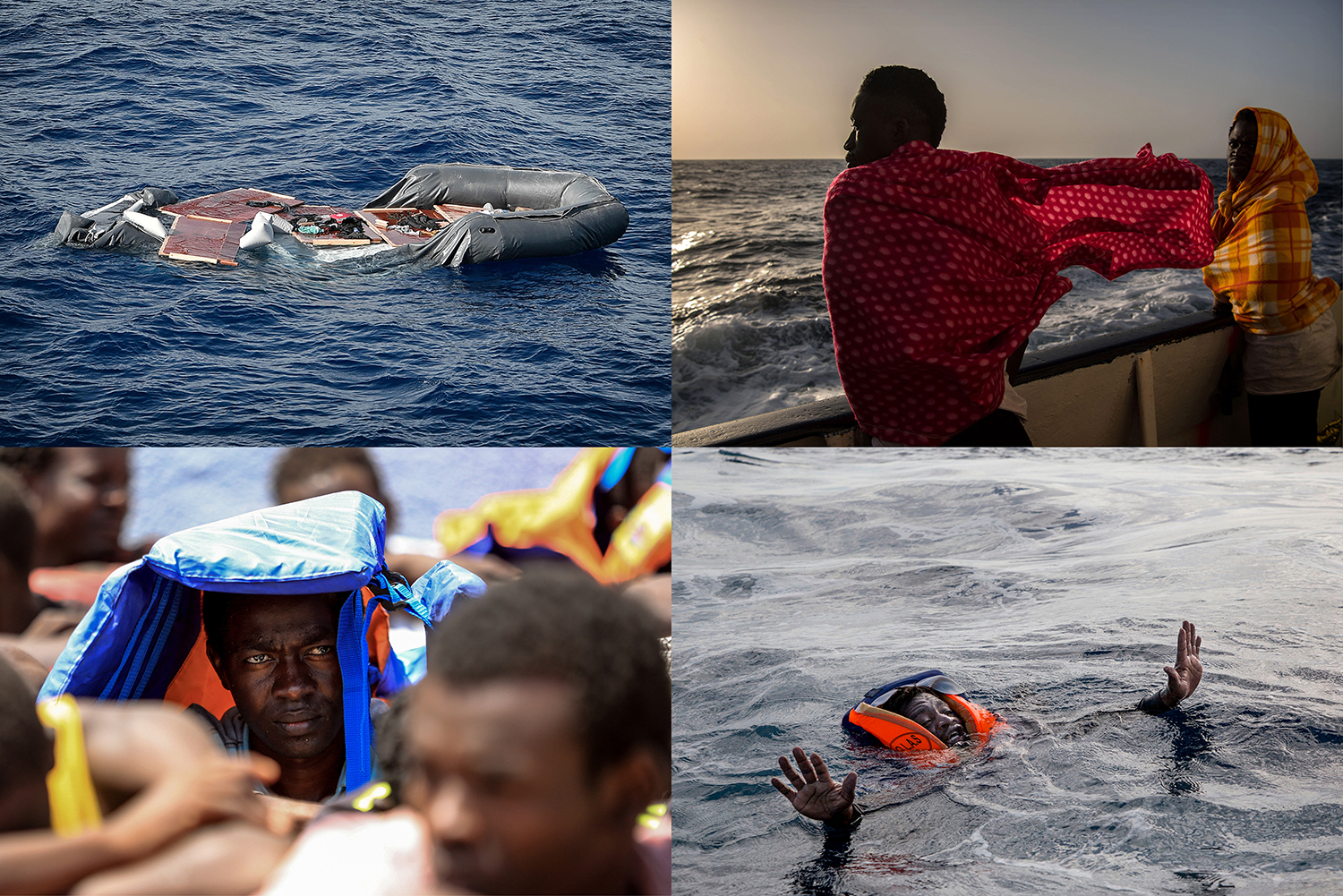 Top left: A deflated rubber boat in seen in the Mediterranean Sea after the Libyan coast guard intercepted migrants aboard on May 8, 2018. Top right: Migrants from Togo aboard a Spanish nongovernmental organization's vessel after being rescued off the Libyan coast on Feb. 19, 2017. Bottom left: A migrant waits at a detention facility in Tajoura on Aug. 6, 2017, after he was retrieved at sea by the Libyan coast guard during an attempt to reach Europe. Bottom right: A migrant tries to board a German NGO vessel in the Mediterranean Sea after his boat capsized on Nov. 6, 2017. The Libyan coast guard's violent behavior was blamed for the death of five people in the shipwreck.