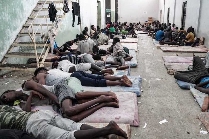 Migrants at a detention center in Zawiyah, west of Tripoli, on June 17, 2017.