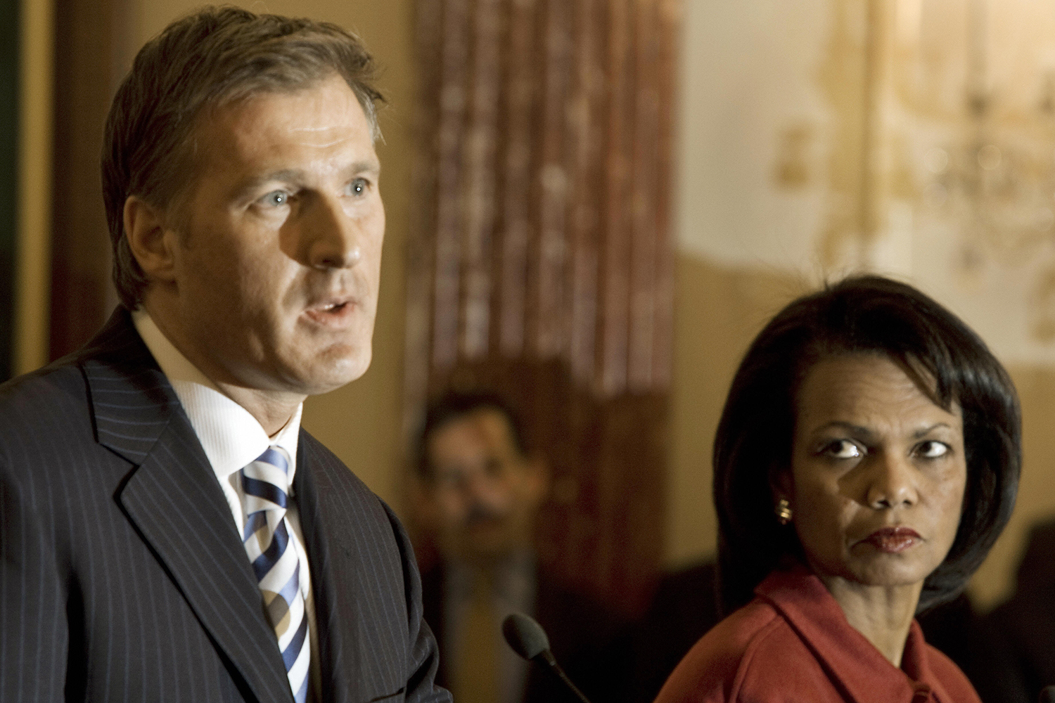 Canadian Minister of Foreign Affairs Maxime Bernier and U.S. Secretary of State Condoleezza Rice conduct a joint news conference at the State Department in Washington on Dec. 20, 2007.