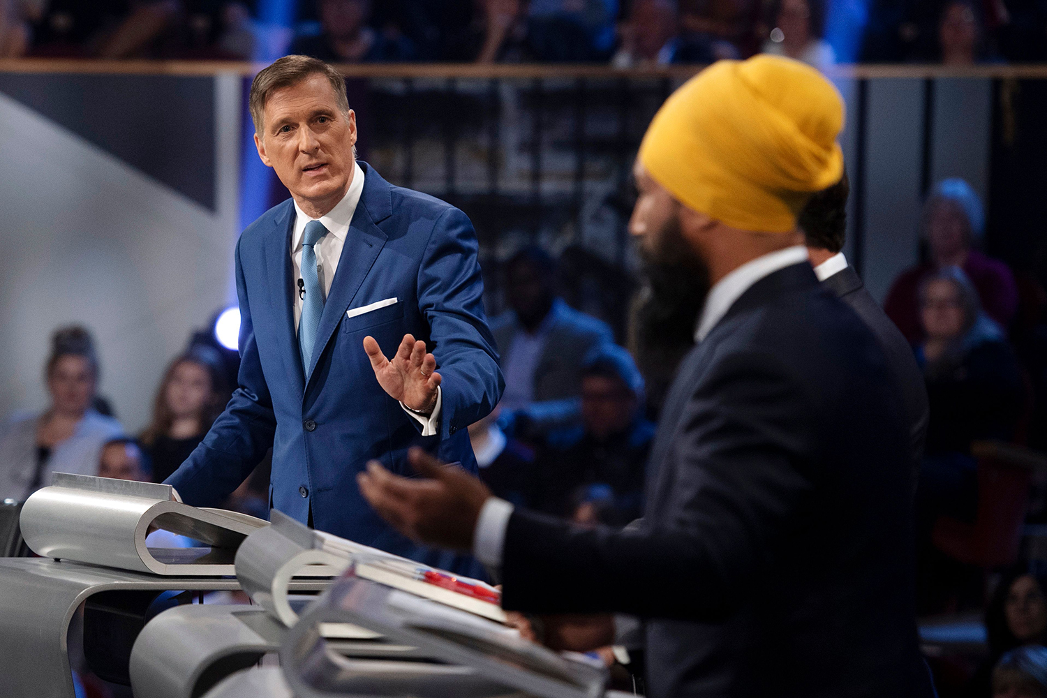 Bernier responds to NDP leader Jagmeet Singh during the Federal Leaders Debate in Gatineau, Quebec, on Oc.t 7.