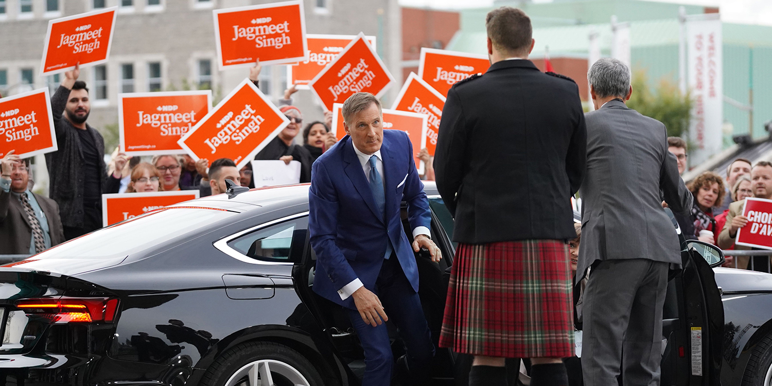 Bernier arrives for the English-language Federal Leaders Debate at the Canadian Museum of History in Gatineau, Quebec, on Oct. 7.