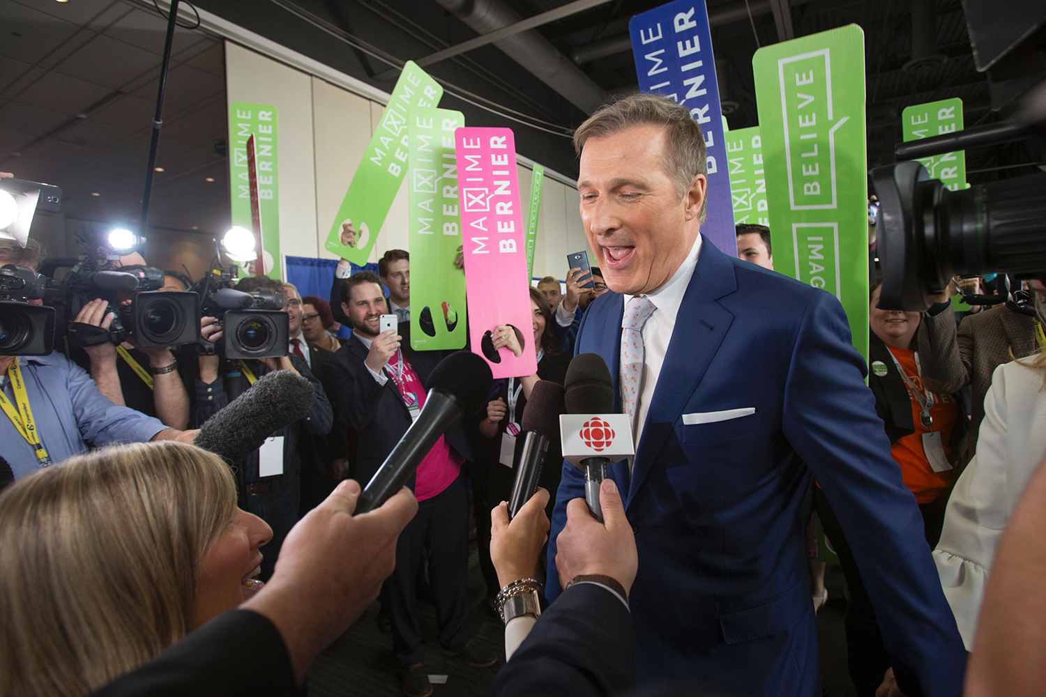 Bernier speaks to the media during the Conservative Party of Canada Leadership Event in Toronto, Ontario, on May 27, 2017.