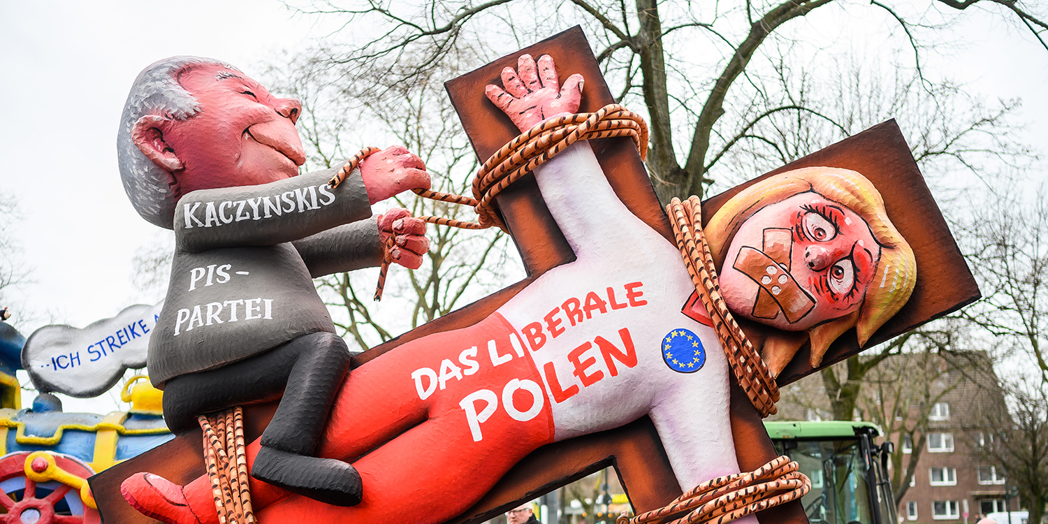 "A float in the Dusseldorf Rose Monday Carnival parade features an effigy of Jaroslaw Kaczynski, leader of Poland's Law and Justice (PiS) ruling political party, displaying the words ""The liberal Poland""' in Germany on March 4. The parade is known for its satirical political floats."
