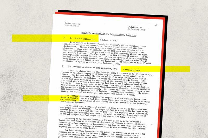 A document produced during the investigation into U.N. Secretary-General Dag Hammarskjold's death.