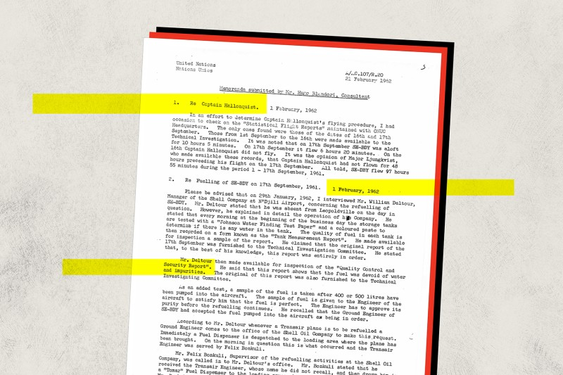 A document produced during the investigation into U.N. Secretary-General Dag Hammarskjold's death.