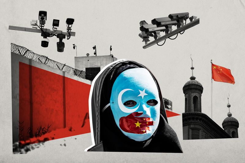 An illustration of a person wearing a mask against a backdrop of surveillance cameras, a prison wall, and a minaret.