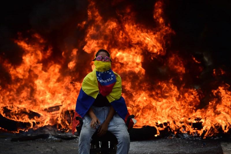 A Venezuelan opposition activist is pictured.