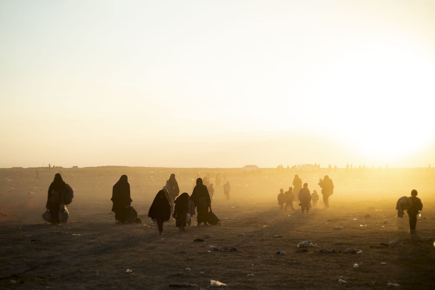 Women and children evacuated from the Islamic State's embattled holdout of Baghouz arrive at a screening area held by the U.S.-backed Kurdish-led Syrian Democratic Forces (SDF), in the eastern Syrian province of Deir Ezzor, on March 6.