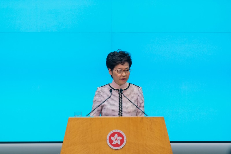 Hong Kong Chief Executive Carrie Lam speaks at a press conference in Hong Kong on Oct. 16.