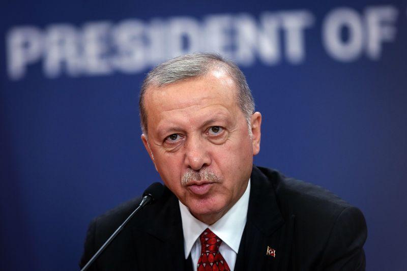 Turkey's president Recep Tayyip Erdogan speaks during a press conference in Belgrade, Serbia, on Oct. 7.