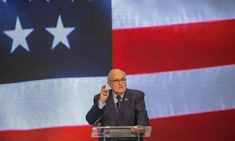 Trump's lawyer Rudy Giuliani speaks in Washington.