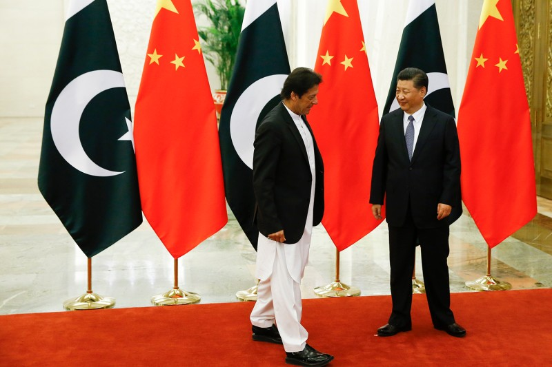 Chinese President Xi Jinping  meets with Pakistani Prime Minister Imran Khan in Beijing on Nov. 2, 2018.