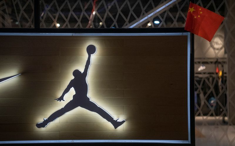 A Chinese flag is seen on a display at the NBA flagship retail store on Oct. 9 in Beijing.