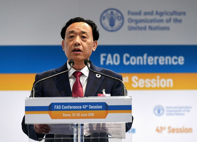 Chinese candidate to head the U.N. Food and Agriculture Organization (FAO) Qu Dongyu makes an address in Rome.