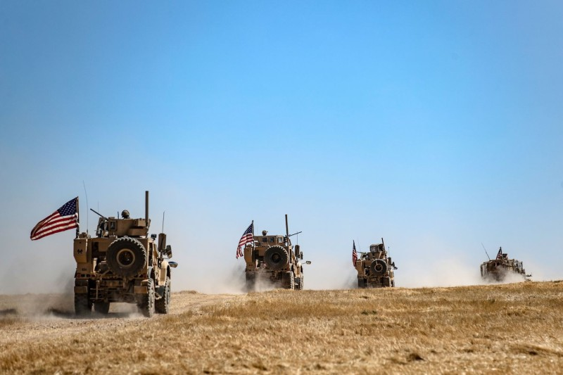A U.S. military convoy in the Syrian village of al-Hashisha on the outskirts of Tal Abyad on Sept. 8.