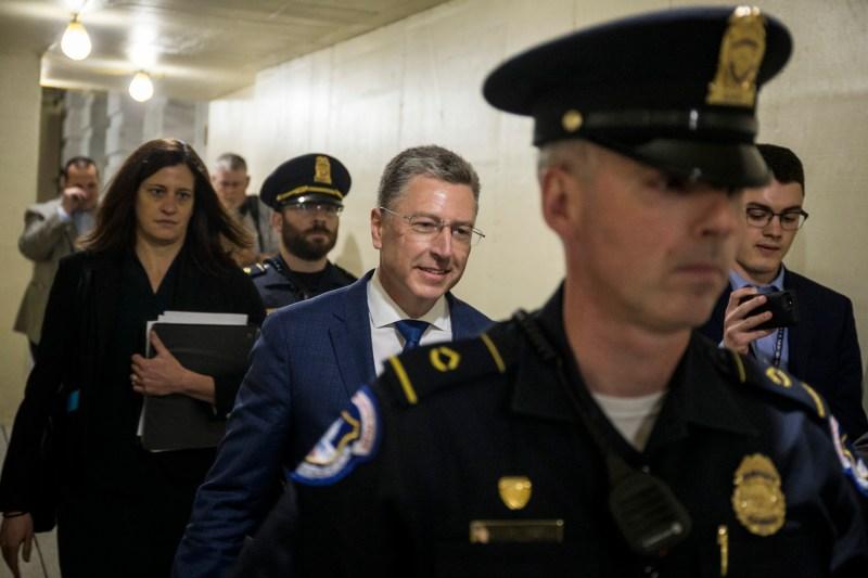 Kurt Volker departs House Intelligence Committee meeting