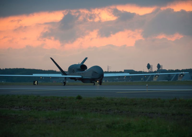 A U.S. RQ-4 Global Hawk drone lands at Misawa Air Base for a temporary intra-theater routine deployment in Japan on June 1, 2018.