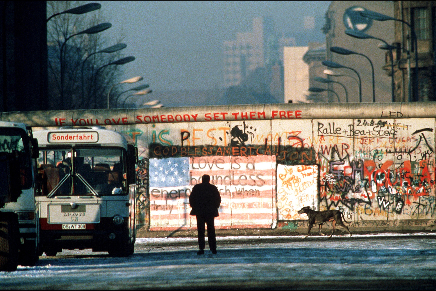 A section of the Berlin Wall in November 1989. Patrick Piel/Gamma-Rapho via Getty Images