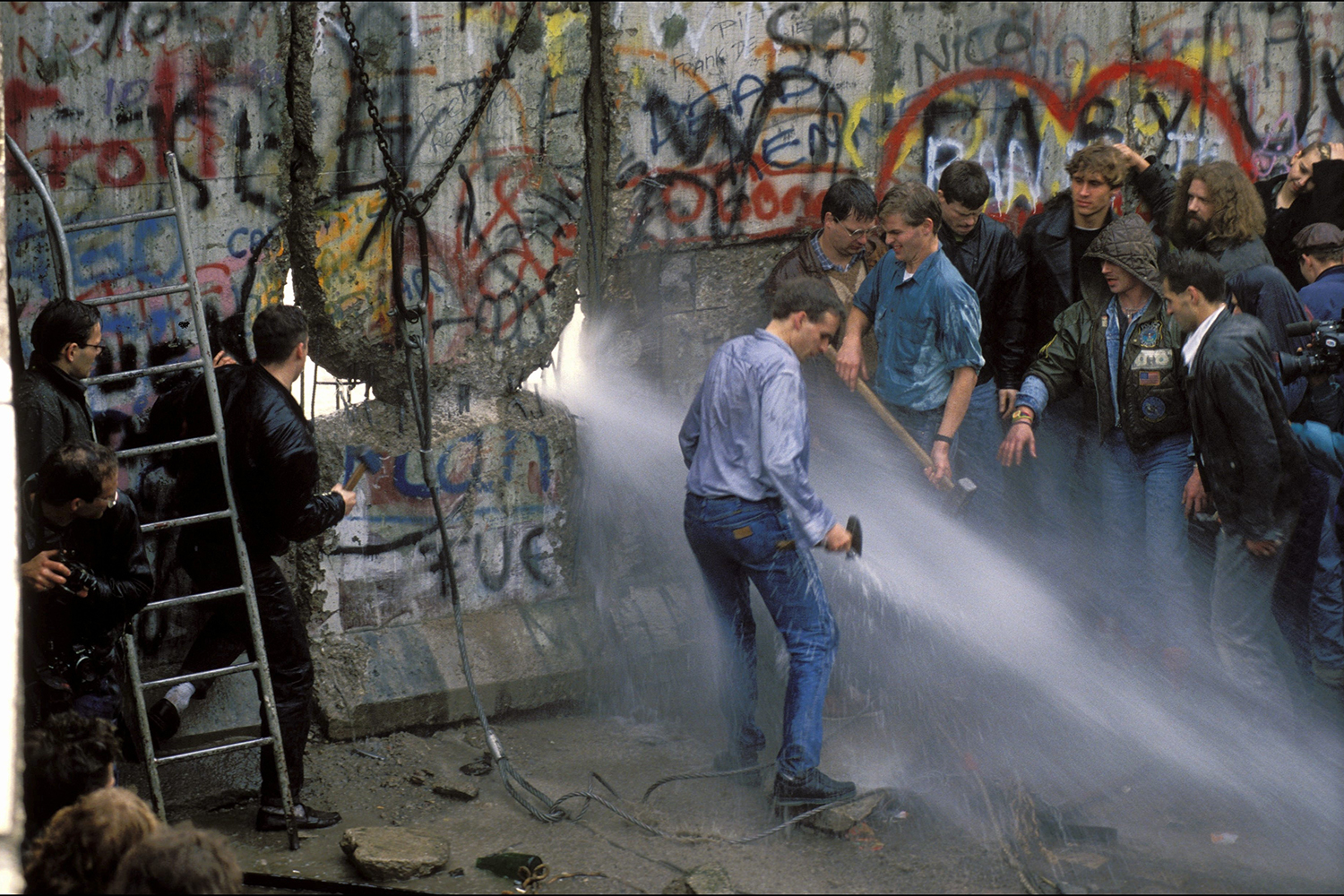 The opening of the Berlin Wall on Nov. 11, 1989. Patrick Piel/Gamma-Rapho via Getty Images