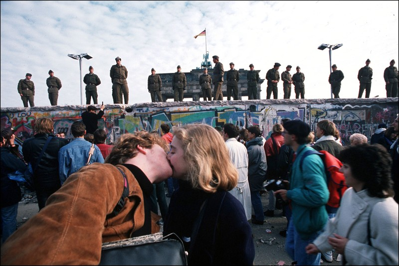 Celebration after the Berlin Wall opening on Nov. 11, 1989. Patrick Piel/Gamma-Rapho via Getty Images